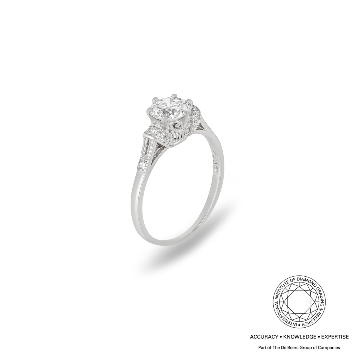 Old Cut Diamond Platinum Ring 0.88ct M/VS1
